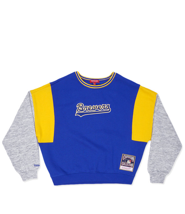 MITCHELL AND NESS Brewers Women's Colorblock Crew