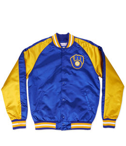 MITCHELL AND NESS BREWERS COLOR BLOCKED SATIN JACKET