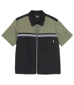 STUSSY COLOR BLOCK ZIP WORK SHIRT