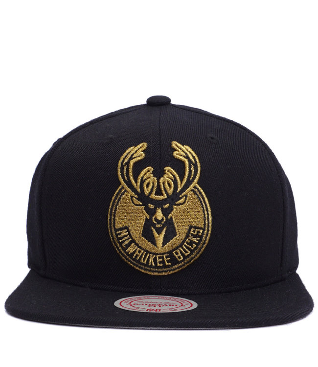 MITCHELL AND NESS Bucks Team Gold Snapback Hat