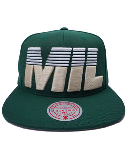 MITCHELL AND NESS BUCKS CITY ABBREVIATION SNAPBACK HAT