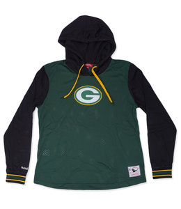 MITCHELL AND NESS PACKERS WOMEN'S MESH LS HOODED TEE