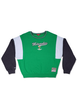 MITCHELL AND NESS BUCKS WOMEN'S COLORBLOCK SWEATSHIRT