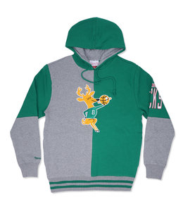 MITCHELL AND NESS BUCKS SPLIT COLOR PULLOVER HOODIE