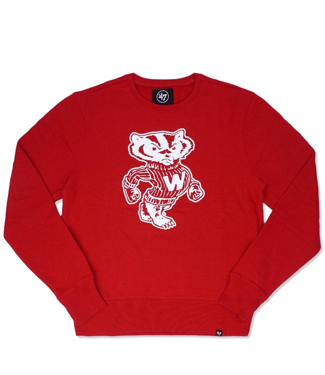 '47 BRAND Badgers Imprint Headline Crewneck Sweatshirt