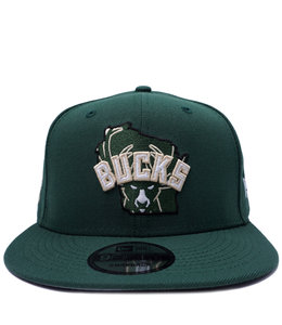 NEW ERA BUCKS STATE LOGOS 9FIFTY SNAPBACK HAT