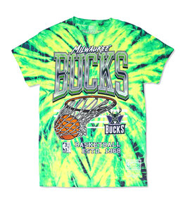 MITCHELL AND NESS BUCKS NEON SWISH TIE DYE TEE