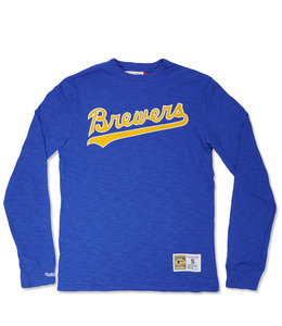 MITCHELL AND NESS BREWERS WORDMARK SLUB LONG SLEEVE