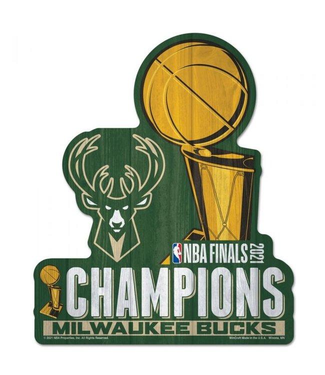 WINCRAFT Bucks 2021 NBA Champions Wood Sign