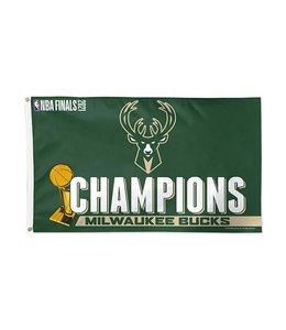 WINCRAFT BUCKS 2021 NBA CHAMPIONS DELUXE FLAG