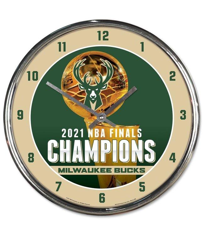 WINCRAFT Bucks 2021 NBA Champions Chrome Clock