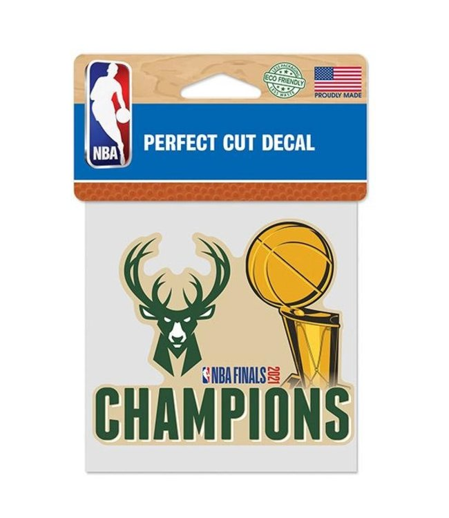 "WINCRAFT Bucks 2021 NBA Champions 4""x4"" Decal"