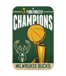 WINCRAFT BUCKS 2021 NBA CHAMPIONS PLASTIC SIGN