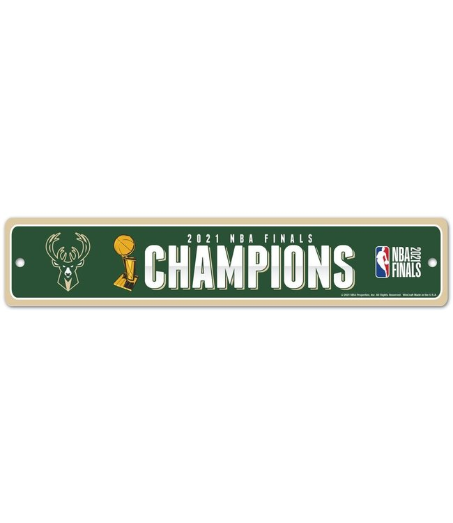 WINCRAFT Bucks 2021 NBA Champions Street Sign