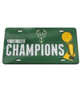 WINCRAFT BUCKS 2021 NBA CHAMPIONS ACRYLIC LICENSE PLATE