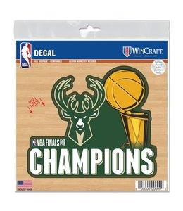 "WINCRAFT BUCKS 2021 NBA CHAMPIONS 6""x6"" ALL SURFACE DECAL"