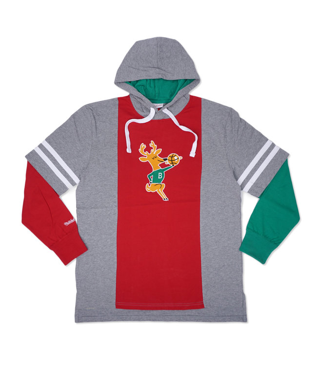 MITCHELL AND NESS Bucks Color Blocked Hooded Long Sleeve Tee