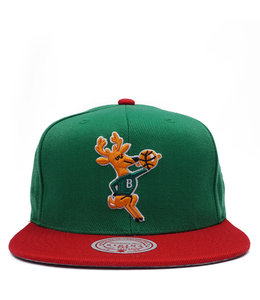 MITCHELL AND NESS BUCKS PATCHES 2-TONE SNAPBACK HAT