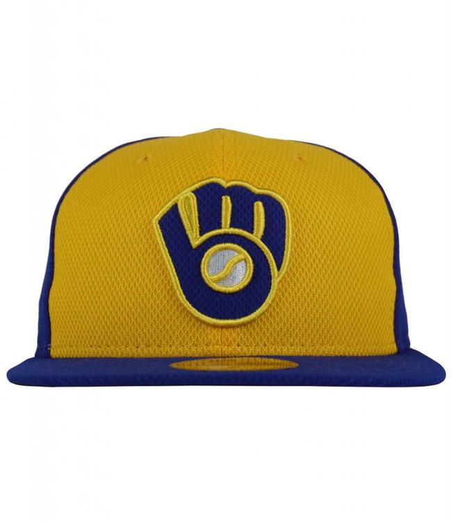 New Era Milwaukee Brewers Practice Diamond Fitted Hat - Royal - MODA3 1b22008b4dde