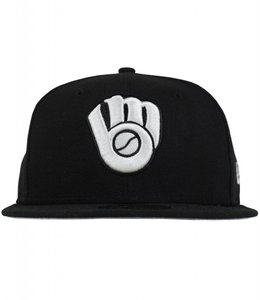 NEW ERA BREWERS BLACK & WHITE 59FIFTY FITTED HAT