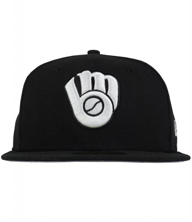 fcdffbf5e68 New Era Milwaukee Brewers Black   White Fitted Hat - Black - MODA3