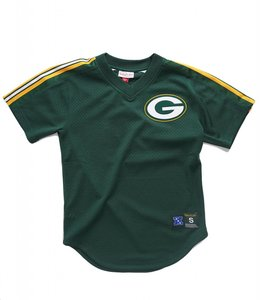 MITCHELL AND NESS PACKERS MESH V-NECK TOP