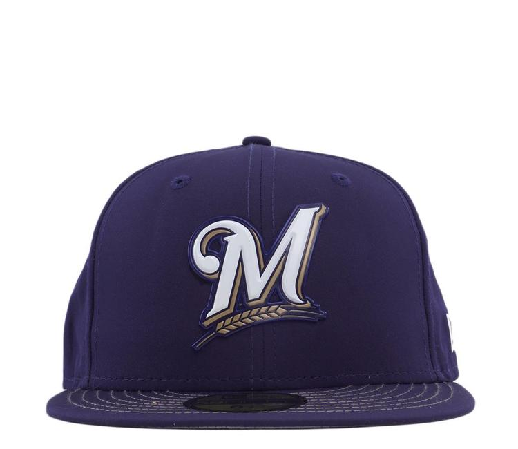 90330bfcaf99a0 New Era Milwaukee Brewers MLB Batting Practice Prolight 59Fifty Fitted -  Navy | 11554524 - MODA3
