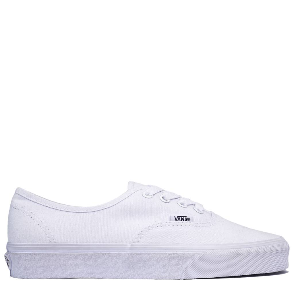 all white authentic vans