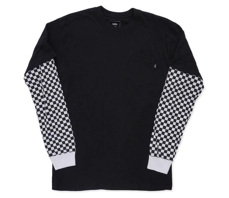 b1ae87d67 Vans Checker Sleeve Two Fer Long Sleeve Shirt - Black Checker   VN0A3HQA2OB    MODA3 - MODA3