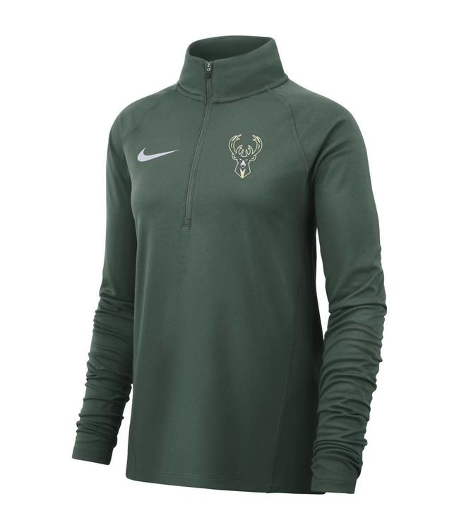 NIKE Bucks Womens Dri-Fit 1/2 Zip Top