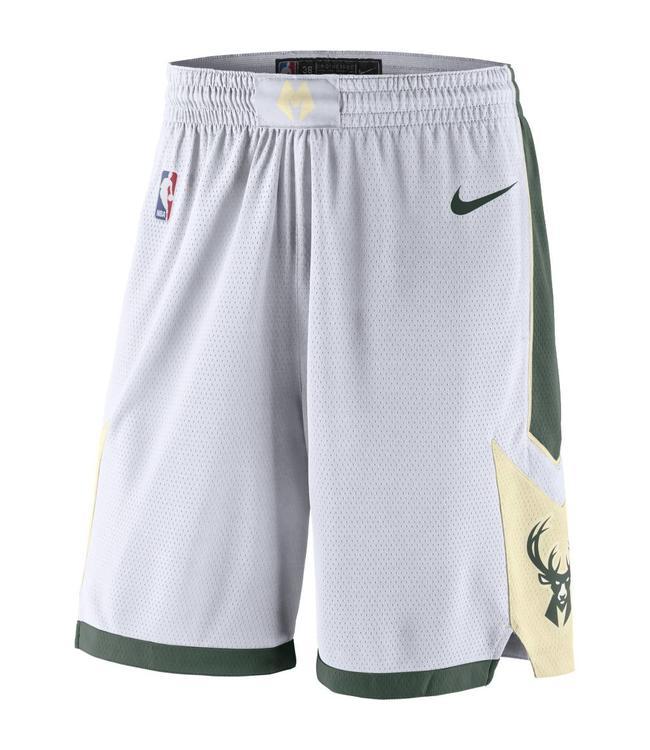 3eab43b7f04 Nike Milwaukee Bucks Association Swingman Shorts - White | AJ5622 ...