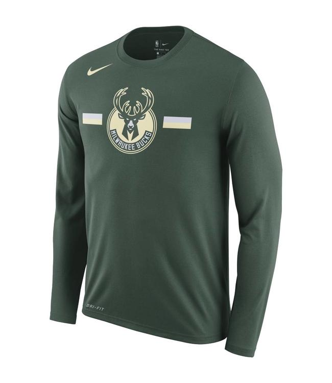 NIKE Bucks Dri-Fit Logo Long Sleeve Tee