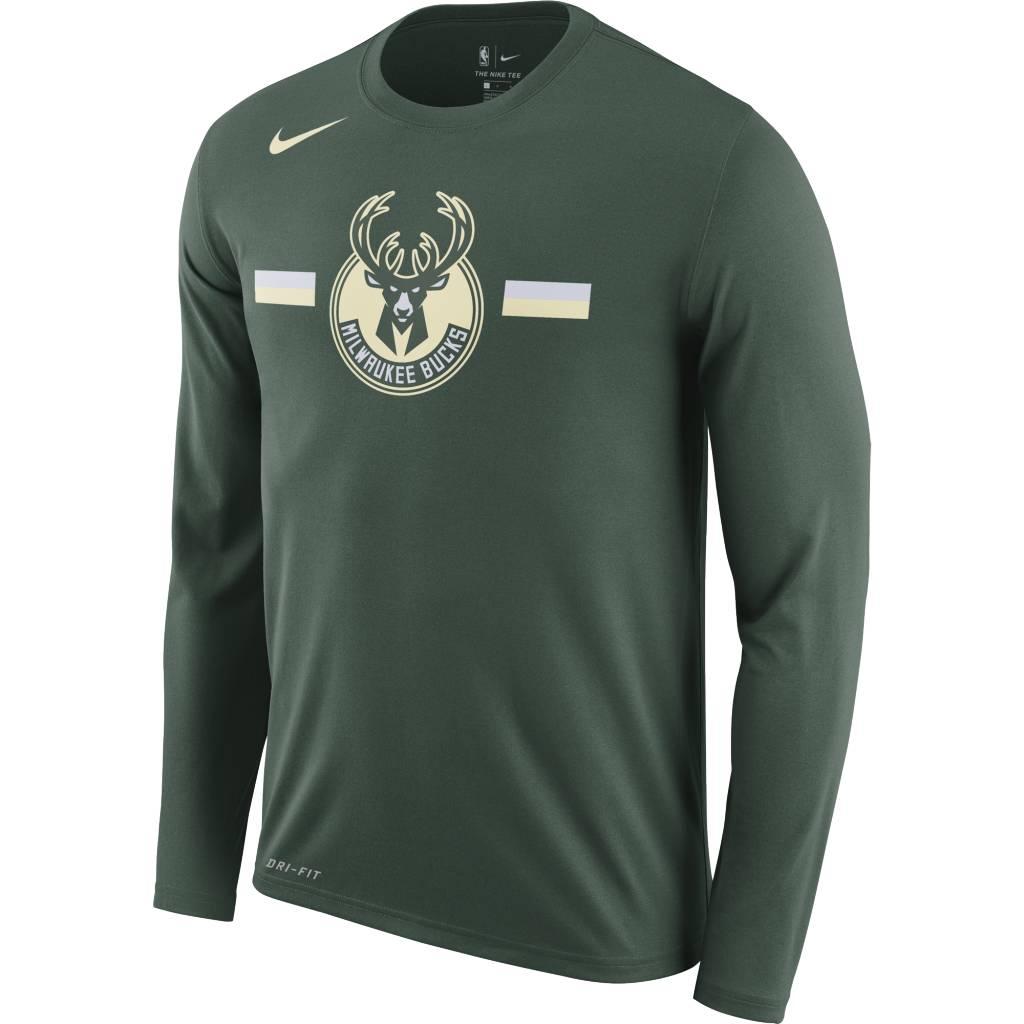 0142e20c04 Nike Milwaukee Bucks Dri-Fit Logo Long Sleeve T-Shirt - Fir
