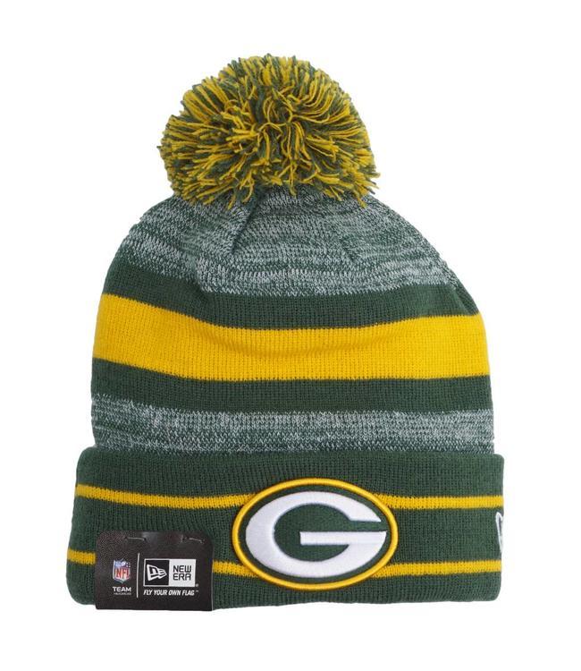 New Era Green Bay Packers Cuff Knit Pom Beanie - Green Gold ... 032cb85bbd65