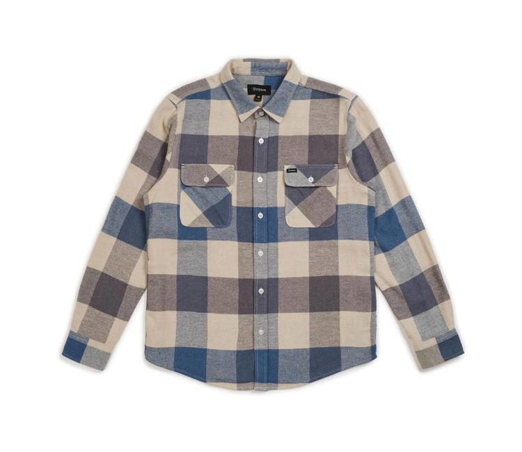 Brixton Bowery Flannel Shirt - Off White Dusty Blue  375d2c33b63