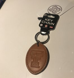 Signature Stag Double T Leather Keychain