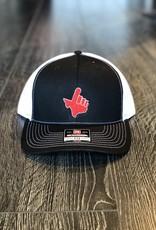 Signature Stag Richardson 112 Trucker Hat Black/White Red Hand/White Outline