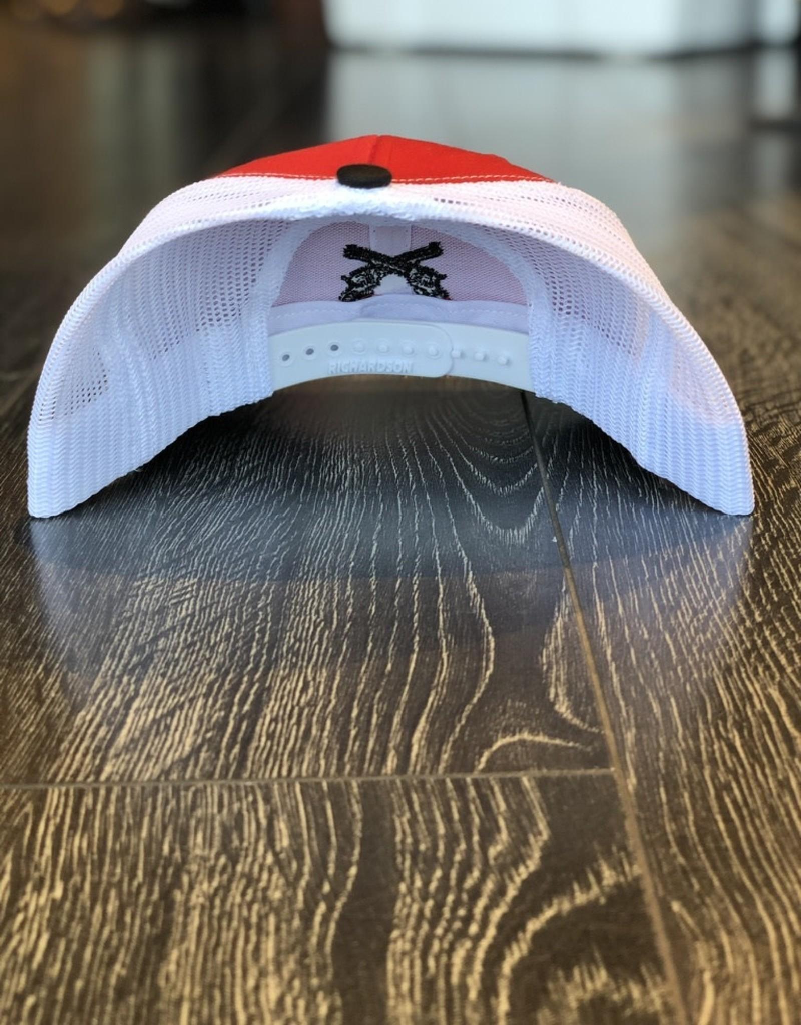 Signature Stag Richardson 112 Trucker Hat Black/White/Red  Cross Guns