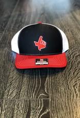 Signature Stag Richardson 112 Trucker Hat Black/White/Red  Red Hand/White Outline