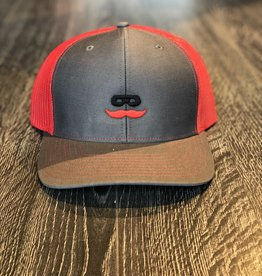 Stag GameDay Richardson 112 Trucker Hat Charcoal/Red Mustache