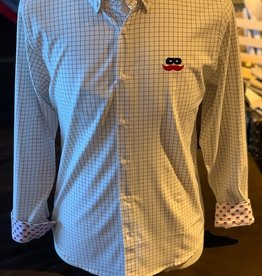 Stag GameDay L/S Black/White Windowpane Mustache