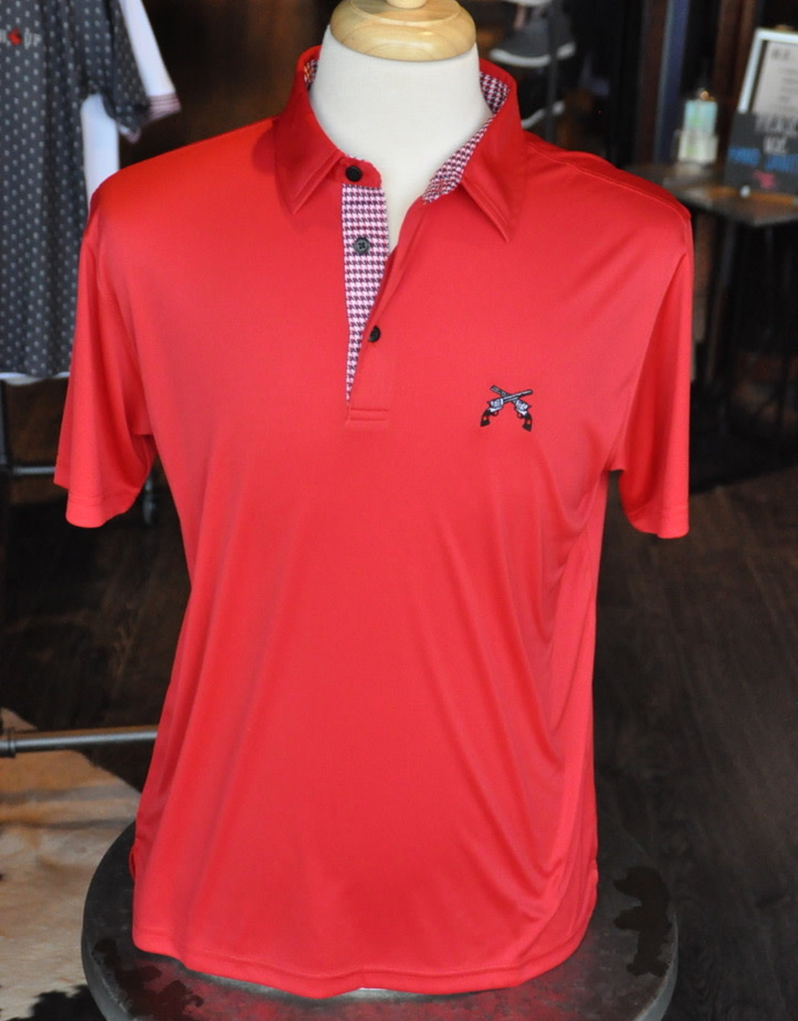 Stag GameDay Red Houndstooth Trim Polo- Cross Guns