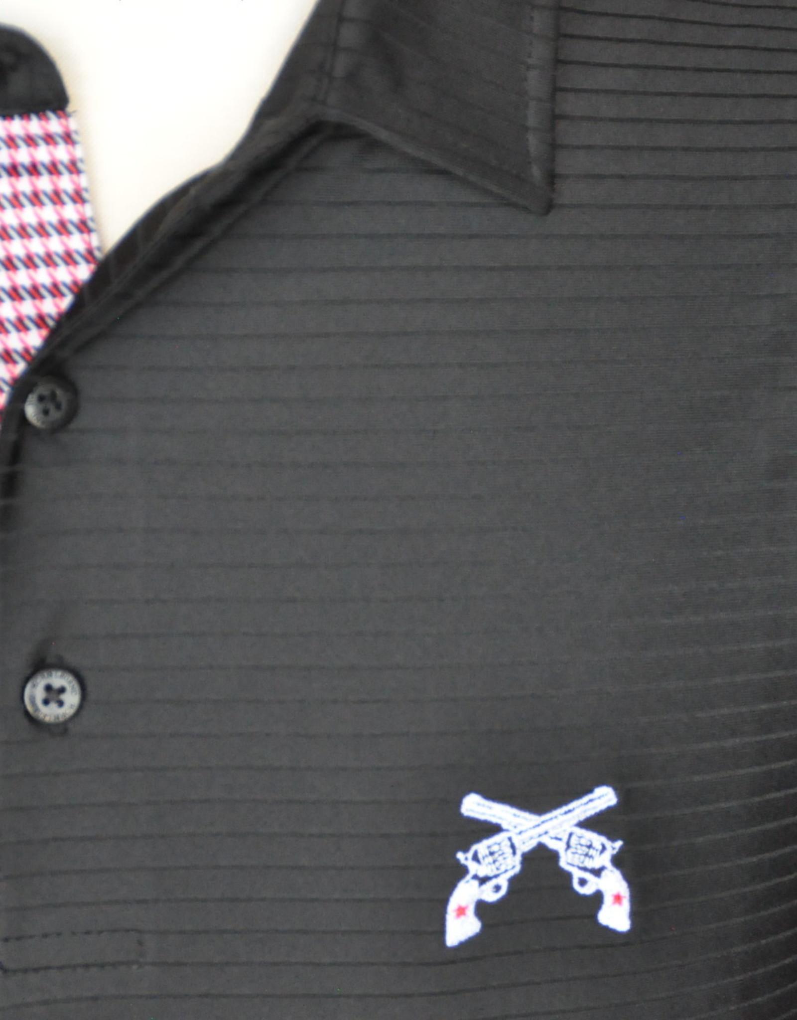 Stag GameDay Black Tonal Stripe Houndstooth Trim Polo- Cross Guns