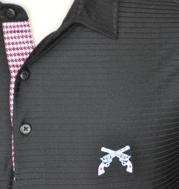 Stag GameDay Black Tonal Stripe Houndstooth Trim Polo- Cross Guns