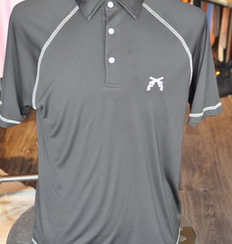 Stag GameDay Black Baseball Cut Polo- Cross Guns