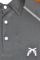 Stag GameDay Black Baseball Cut Polo- Cross Guns