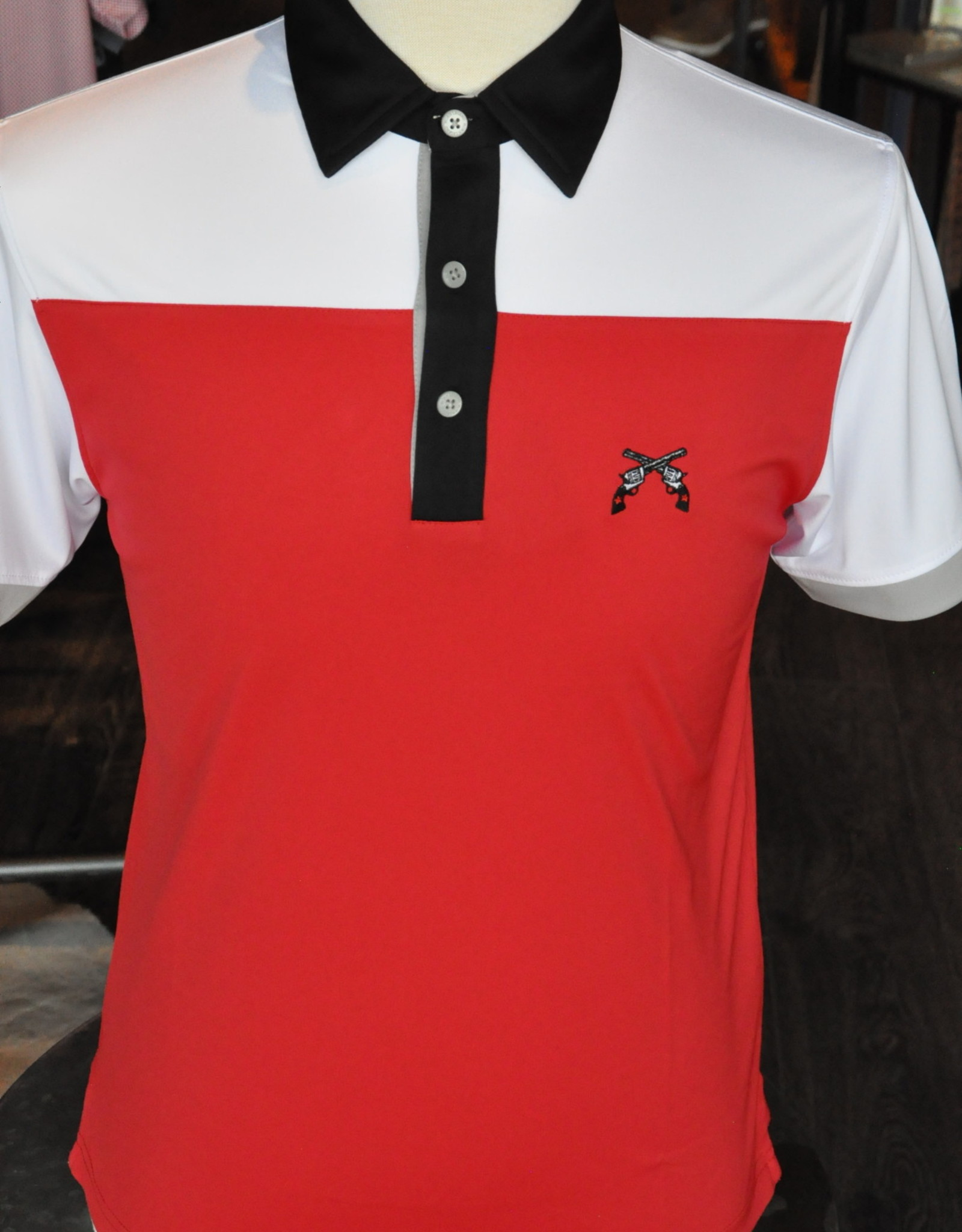 Stag GameDay Red/White Color Block Polo- Cross Guns