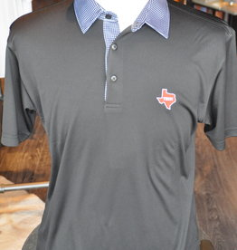 Stag GameDay Black/White Gingham Trim Polo- Texas State