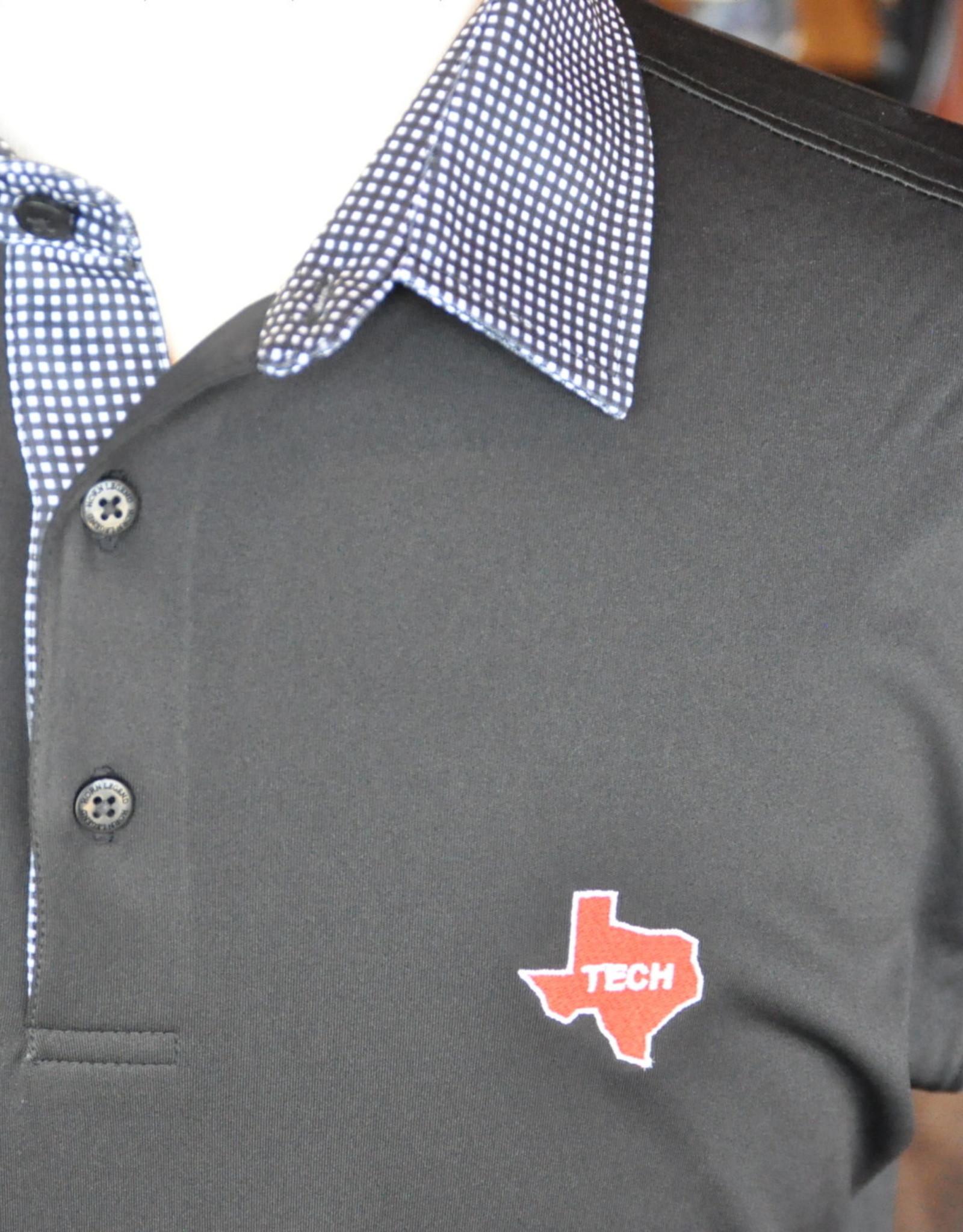 Stag GameDay Black/White Gingham Trim Polo- Texas State