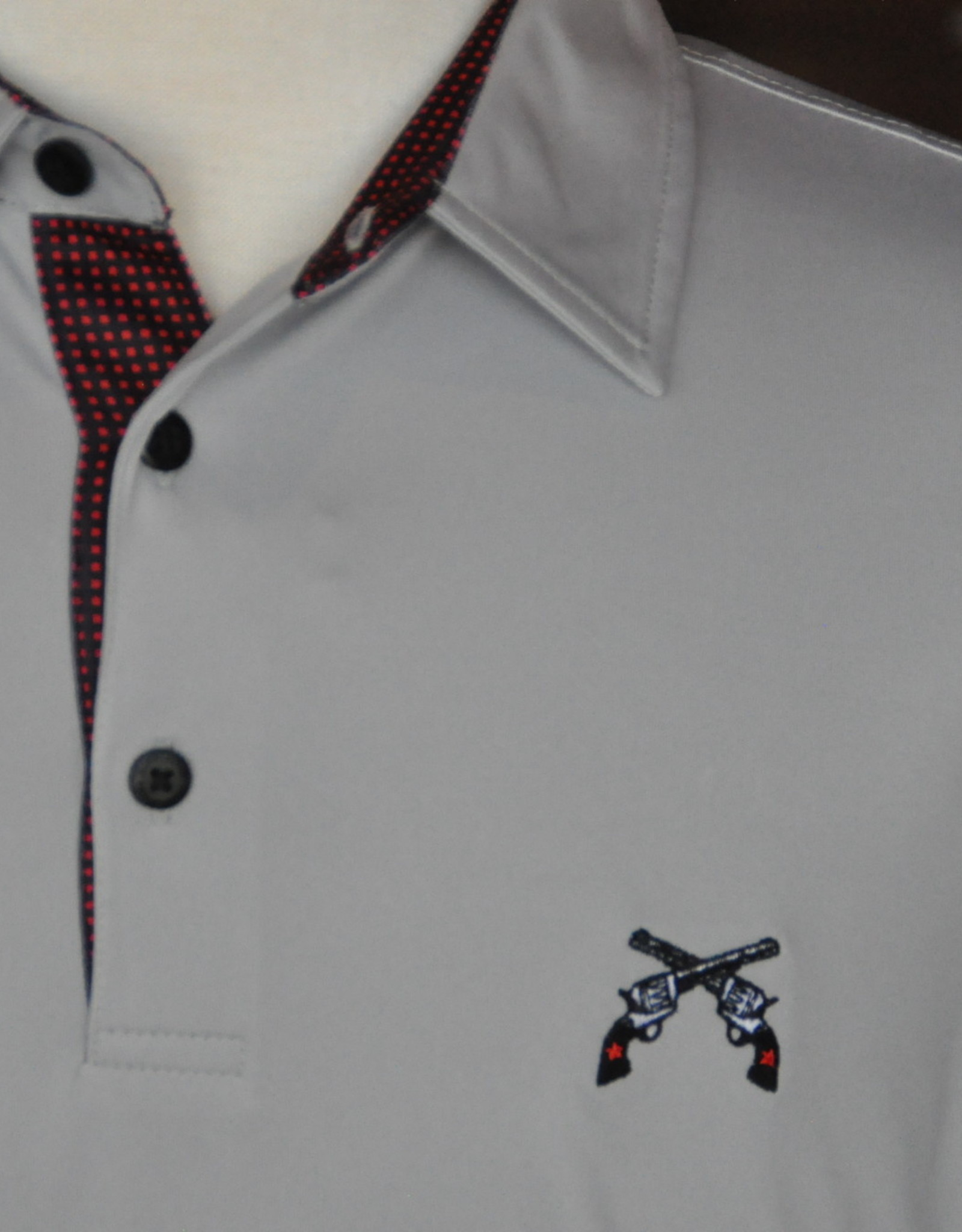 Stag GameDay Grey Gingham Trim Polo- Cross Guns